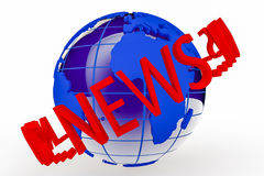 World News. A blue globe with the word news surrounding it Stock Photo