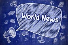 World News - Cartoon Illustration on Blue Chalkboard. Stock Images