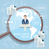 World news concept news studio online television Stock Photos