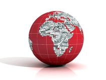 World news - europe and africa version. Conceptual word globe realized with clippings of newspaper - rendering Stock Image