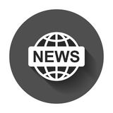 World news flat vector icon. News symbol logo illustration on bl. Ack round background with long shadow Royalty Free Stock Photo