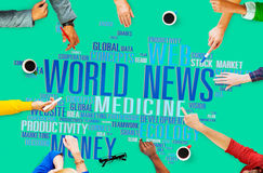 World News Globalization Advertising Event Media Information Conc. Ept Stock Images