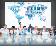 World News Globalization Advertising Event Media Information Conc Stock Photos