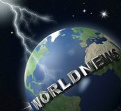 World-news globe 2. World-news globe  and lighting - digital art work Stock Images