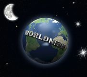 World-news globe. And the moon- digital artwork Stock Photos