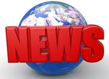 World news. World globe 3D text Stock Images