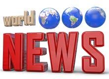 World news. World globe 3D text Royalty Free Stock Photos