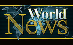 World News Graphic. Cable TV television news channel style World News graphic with widescreen format Stock Photos