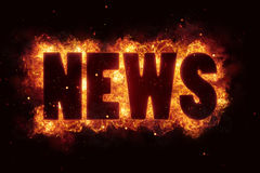 World news hot text on fire flames explosion burning. Explode Royalty Free Stock Photo