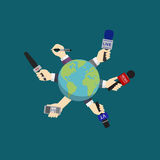 World news, journalism, live report, hot news. Journalist hand holding microphone and voice recorder around the globe concept Royalty Free Stock Photos