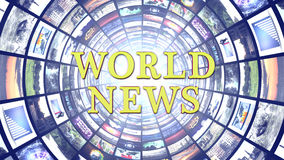 WORLD NEWS and Monitors Tunnel, Background Royalty Free Stock Images