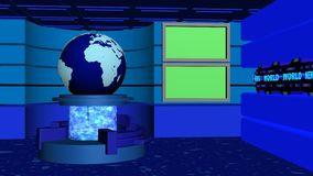 World News studio tv cyan blue. World news studio tv 4k with earth globe, transparent cylinder, rotating tubes and green screens cyan blue version stock video
