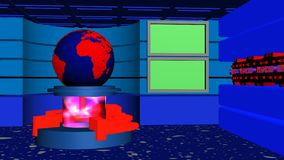World News studio tv red blue. World news studio tv 4k with earth globe, transparent cylinder, rotating tubes and green screens red blue version stock video footage