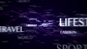 World News text animation with keywords, and final green screen monitor, background, rendering, 4k stock footage