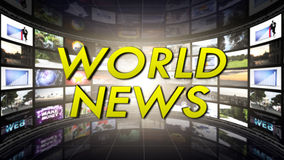 WORLD NEWS Text and Monitor Tunnel, Computer Graphics Stock Photo