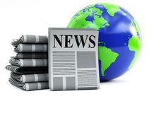 World and newspapers. 3d illustration on white background Stock Photos