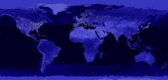 Free World Night Electric Lights Map.  View From Outer Space. Royalty Free Stock Images - 154597239