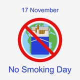 World No Smoking Day. 17 November. Flat illustration stock photos