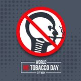 World no tobacco day banner with head skull in human are smoking sign vector design royalty free stock photos