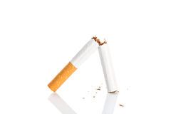 World No Tobacco Day : Broken cigarette isolated Royalty Free Stock Image