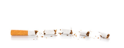 World No Tobacco Day : Broken cigarette isolated Stock Photos