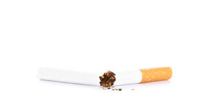 World No Tobacco Day : Broken cigarette isolated Royalty Free Stock Photo