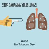 World no tobacco day celebation, sign for remembrance design illustration flat cute cartoon 31 may trend popular Royalty Free Stock Photography