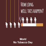 World no tobacco day celebation, sign for remembrance design illustration flat cute cartoon 31 may trend popular Royalty Free Stock Photos