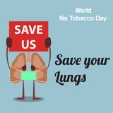 World no tobacco day celebation, sign for remembrance design illustration flat cute cartoon 31 may trend popular Stock Photo