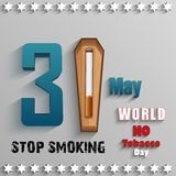 World No Tobacco Day with stylish text and cigarette over wood on gray background Royalty Free Stock Photo