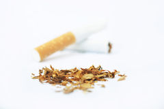 World No Tobacco Day and tobacco on white background Royalty Free Stock Photography