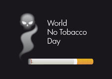 World No Tobacco Day vector. Cigarette with a skull on a black background. Illustration harmful effects of smoking Stock Photography
