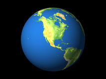 World, North America. Detailed 3D rendering of the globe Stock Image