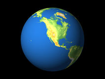 World, North America, Pacific. Detailed 3D rendering of the globe on black background Stock Images