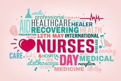 World Nurse Day. International nurse day cloud of tags concept. Vector illustration in pink, green and grey colors isolated on a light background. Medical and vector illustration