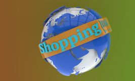 World object and shopping symbol, 3d royalty free illustration