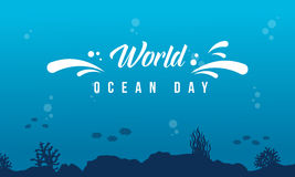 World ocean day background with underwater Stock Photography