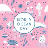 World ocean day. Element of image furnished by NASA. World ocean day greeting card. Underwater world. Fish, jellyfish, crab, dolphin, squid, whale, tortoise, sea royalty free illustration