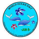 World ocean day. Label, stamp vector illustration Royalty Free Stock Photos