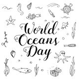World Ocean Day lettering and doodle illustration. Royalty Free Stock Images