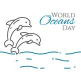 World oceans day banner with couple of dolphins jumping above water line style isolated on white background. Outline sea animals - environment vector Royalty Free Stock Photos