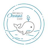 World oceans day banner with cute swimming whale expelling water line style isolated on white background. World oceans day banner with cute swimming whale Royalty Free Stock Photo