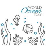 World oceans day banner with fish, sea horse, corals and seaweed line style isolated on white background. Outline underwater wild life with animals Stock Photos