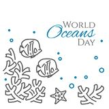 World oceans day banner with fish, sea star and corals line style isolated on white background. Outline underwater wild life with animals - environmental Stock Images