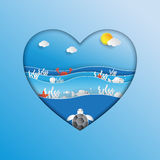World oceans day concept design in heart shape. World oceans day concept design in heart shape with ecosystem and environment concept in paper art style.Vector Royalty Free Stock Photos