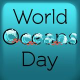 World Oceans Day greeting card template with text, waves and fish over blue background. Cartoon vector illustration in flat style Stock Photo