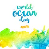 World oceans day illustration - brush calligraphy and hand drawn ocean inhabitant on a watercolor background. Vector illustration Stock Image