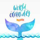 World oceans day illustration - brush calligraphy and  the tail of a dive whale above the ocean surface. World oceans day vector illustration - brush Royalty Free Stock Image