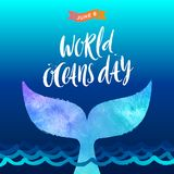 World oceans day illustration - brush calligraphy and  the tail of a dive whale above the ocean waves. World oceans day vector illustration - brush calligraphy Stock Photography