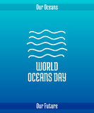 World Oceans Day. June 8. Promoting card with hand drawn doodle,  line illustration. Abstract sea waves on a blue background with text Stock Image